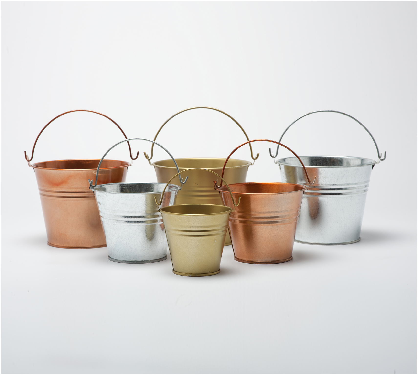 painted galvanised metal tin buckets pails mini to large
